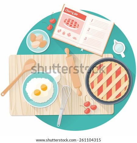 Kitchen worktop top view with utensils, open cookbook and cherry pie preparation - stock vector