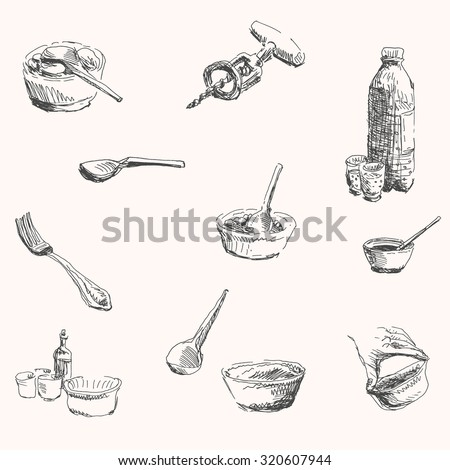 Restaurant Kitchenware kitchenware cooking tool set spoon fork stock vector 320607944