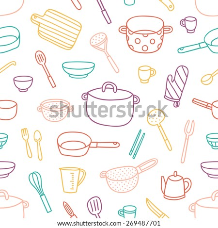 Kitchenware and cooking utensils colorful and fun doodle seamless pattern - stock vector