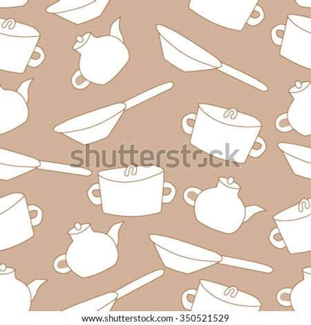 Kitchenware and cooking utensils. Seamless pattern.Endless print silhouette texture. eps10.