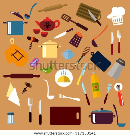 Kitchenware and utensil flat icons with pots, ladles, knives, forks, cup, tea set, tray, graters, cutting board, rolling pins, chef hat, spatula, salt, corkscrews, oil, pizza cutter whisks, oven glove - stock vector