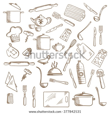 Kitchenware and utensil icons with pots, ladles and knives, forks, cup and tea set, tray and graters, cutting boards, rolling pins, chef hat, spatula, salt, corkscrews, oil, pizza cutter, oven glove - stock vector