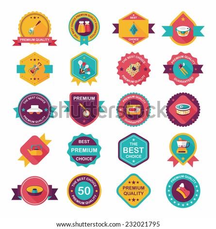 Kitchenware badge flat banner design background set, eps10 - stock vector