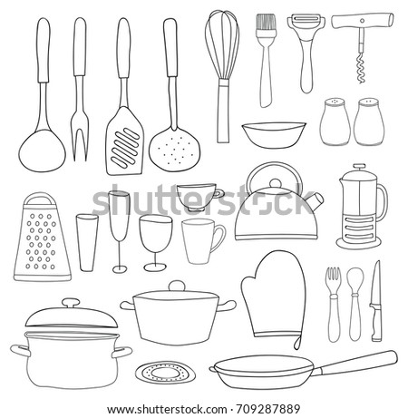 Kitchen Utensils Silhouette Vector Stock Vector 56117134 ...