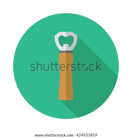 Kitchenware corkscrew flat icon with long shadow - stock vector