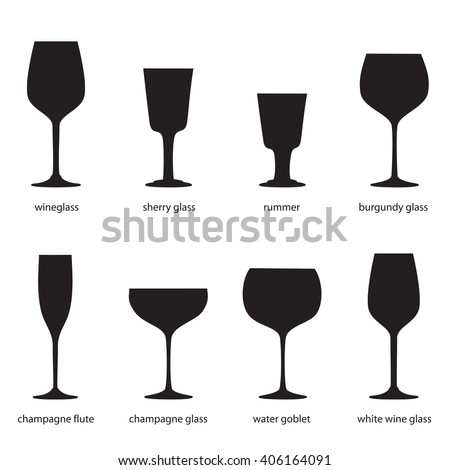 Kitchenware. Different kinds of glasses, names. Silhouettes of wine glasses. Wineglass, sherry glass, rummer, burgundy glass, champagne flute, champagne glass, water goblet, white wine glass.  - stock vector