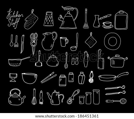 Kitchenware. Doodle set in vector isolated on a black background.