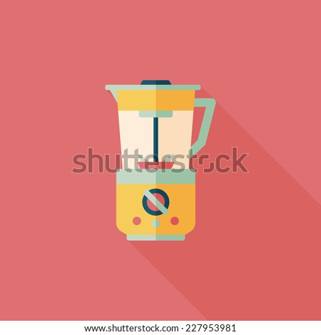 kitchenware electric juicer flat icon with long shadow,eps10