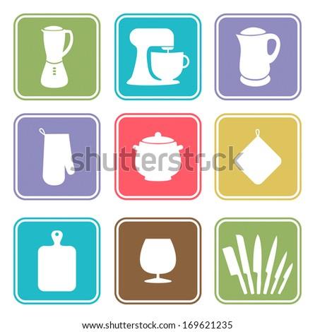 Kitchenware icon set - stock vector