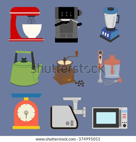 Kitchenware Icons Set on the blue background. Vector illustration