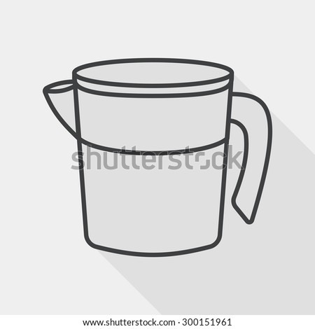 kitchenware measuring cup flat icon with long shadow, line icon