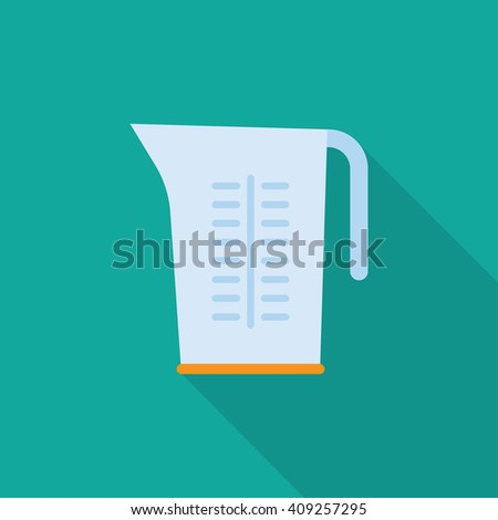 Kitchenware measuring cups flat  icon with long shadow,circle - stock vector