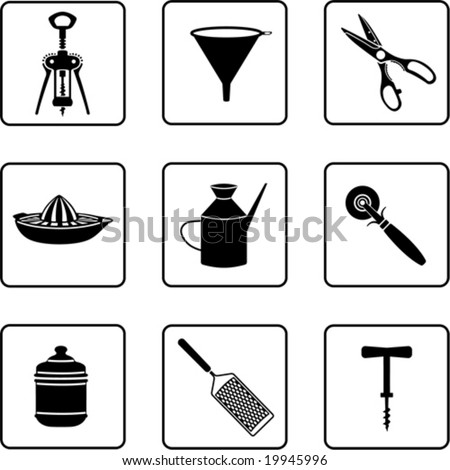 kitchenware objects black and white silhouettes (also available in raster format) - stock vector