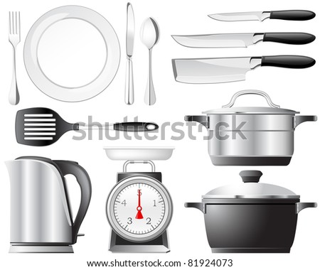 Kitchenware pots, knives, and other utensils used in the kitchen - stock vector