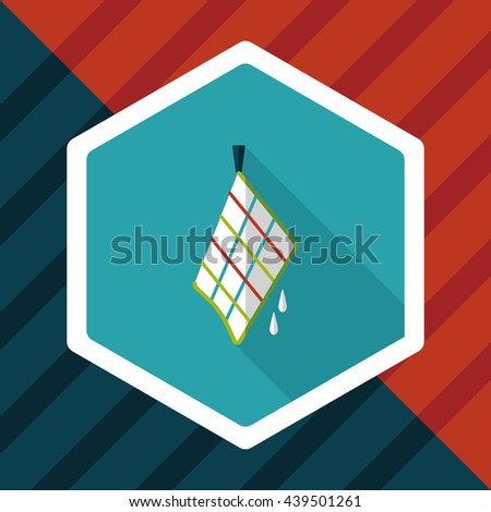 kitchenware rag flat icon with long shadow,eps10 - stock vector