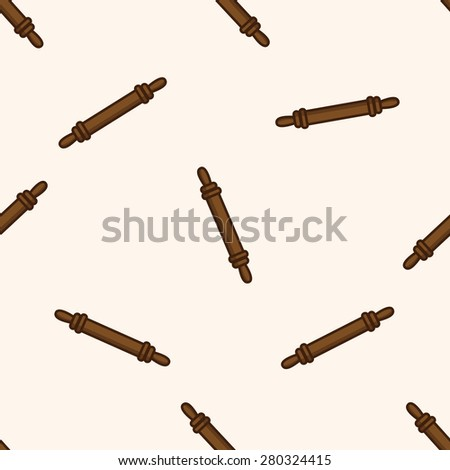 kitchenware rolling pin , cartoon seamless pattern background - stock vector