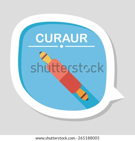 kitchenware rolling pin flat icon with long shadow,eps10 - stock vector