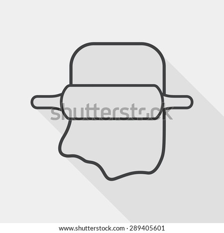 kitchenware rolling pin flat icon with long shadow, line icon - stock vector