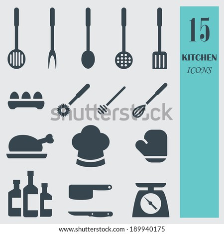 Kitchenware set vector icons. Objects are all on separate layers so they can easily be moved or edited individually. - stock vector