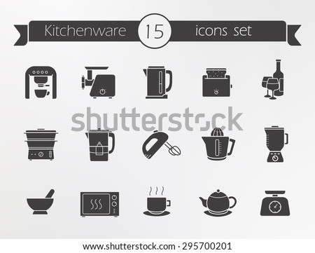 Kitchenware silhouette icons set. Kitchen equipment. Vector - stock vector