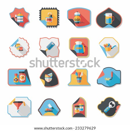 Kitchenware sticker flat banner background set, eps10