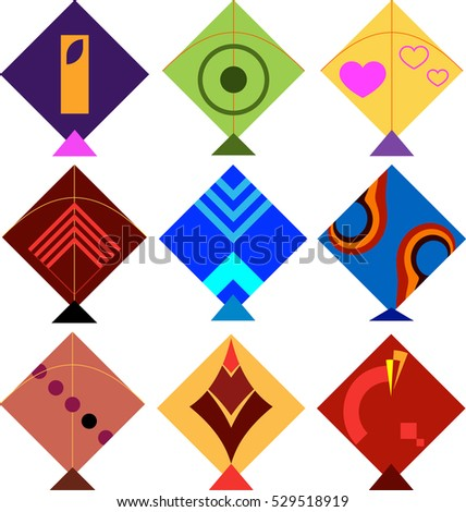 Kite Design Collection Vector Illustration