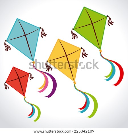 Kite design over white background, vector illustration