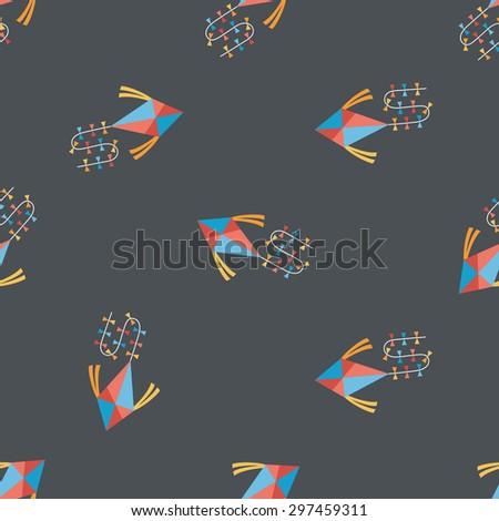 kite flat icon,eps10 seamless pattern background - stock vector