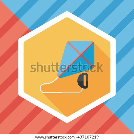 kite flat icon with long shadow,eps10 - stock vector