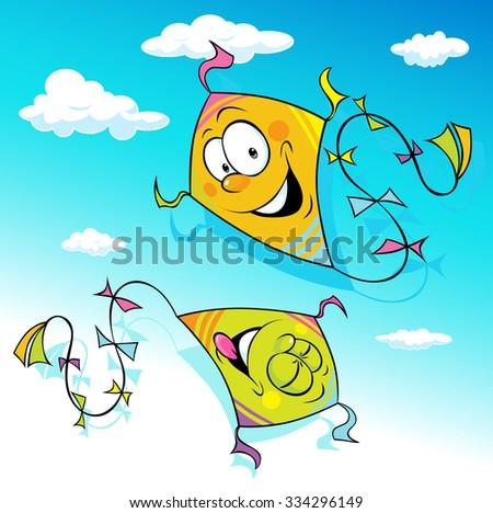 kite flying on blue sky - vector illustration - stock vector
