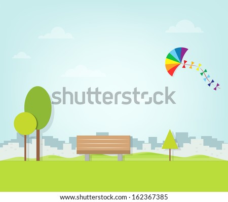kite flying over the park - stock vector