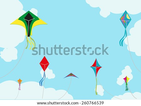 Kite Flying with Space for Title or Texts Horizontal version for Competition Announcement or Advertising design.