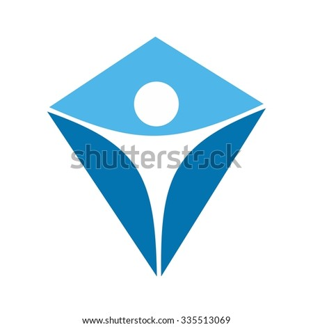 Kite Logo Person Symbol Logo Template Stock Vector