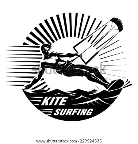 Kite surfing. Vector illustration in the engraving style - stock vector