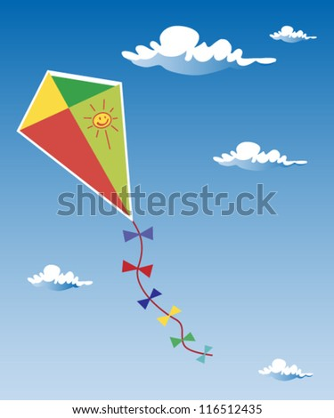 Kite up in the clouds