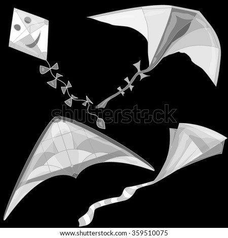 Kite. Vector illustration of colorful kite and clouds in the sky. - stock vector