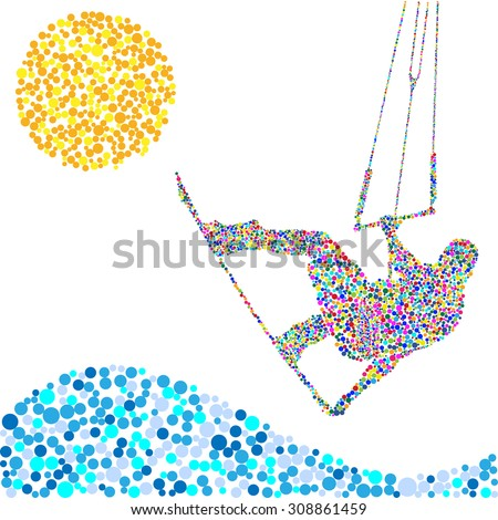 Kiteboarding Jump. Extreme Sports. Illustration Confetti in the shape of a Man, Waves and Sun. Vector EPS10.