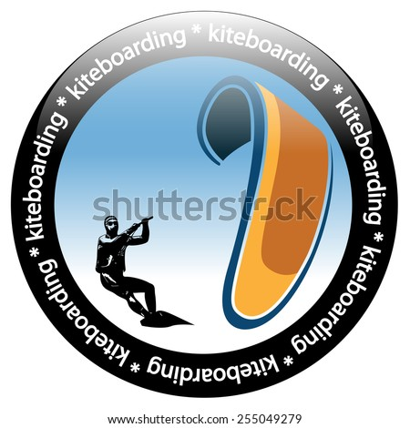 Kiteboarding. Rider Icon Isolated on White background. Vector. Illustration. - stock vector