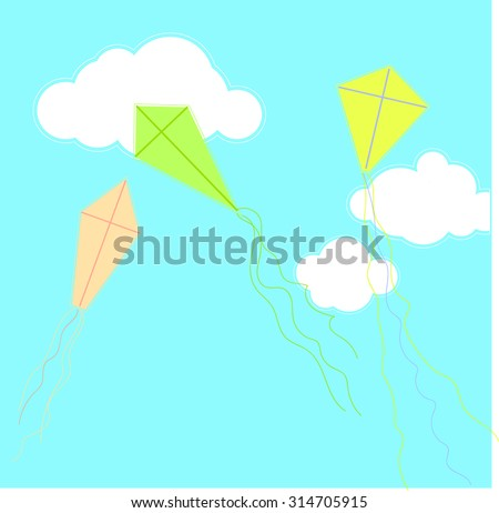 Kites flying in the sky - vector Illustration