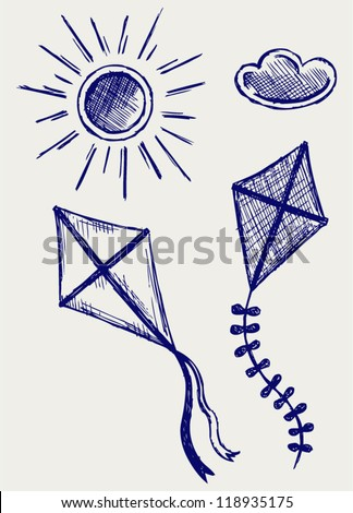 Kites in the sky. Doodle style - stock vector