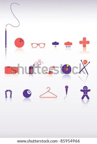 Kitsch Icon Set - stock vector