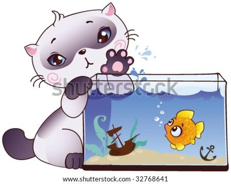 Kitten and fish - stock vector