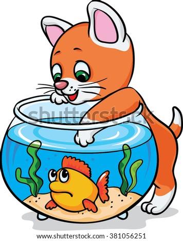 kitten catch fish aquarium coloring cartoon stock vector 381056251 rh shutterstock com aquarium clip art free aquarium clipart black and white