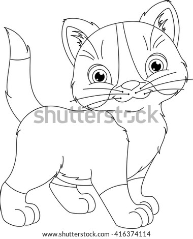 Kitten Coloring Page Stock Vector 416374114 - Shutterstock