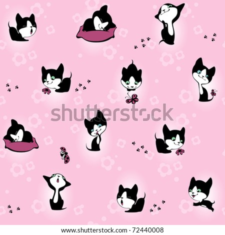 kitten in flowers. Wallpaper. pink background - stock vector