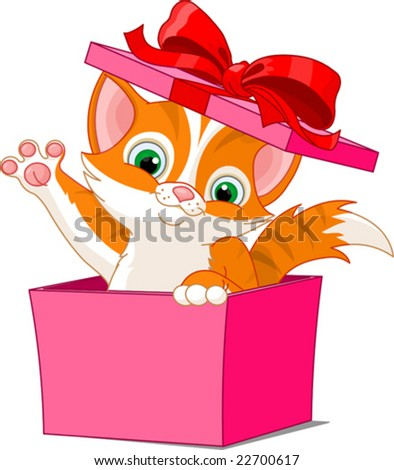kitten jumping out from a gift box - stock vector