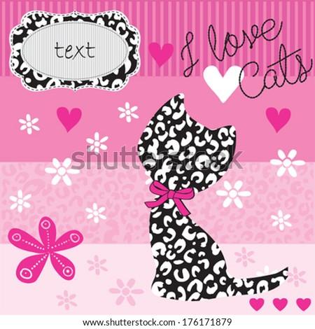 kitten pattern greeting card background vector illustration - stock vector