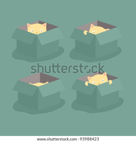 Kitten, playing in the box - stock vector