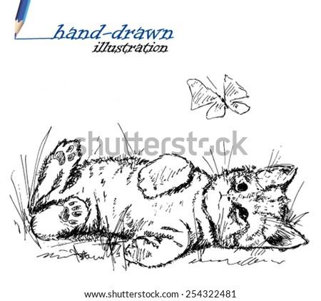 kitten sketch - hand-drawn illustration - stock vector