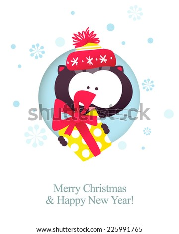 Kitten with gift. Merry christmas & Happy New Year card. Vector illustration. - stock vector